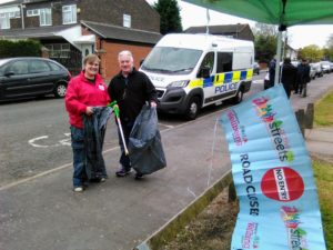 Olga from ActiveStreets with Councillor Tony Kennedy and support from WM Police setting up on Main Street, Sparkbrook